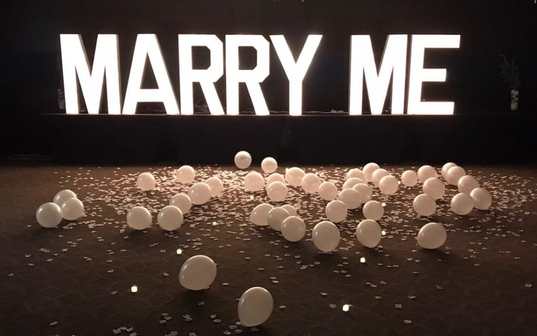 Proposing with Marquee Letters in Tampa